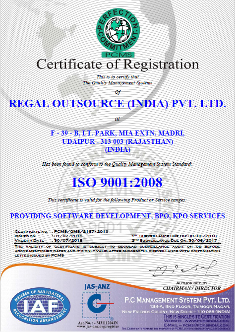Iso Certification Bpo Software Testing Coding It Support Regal